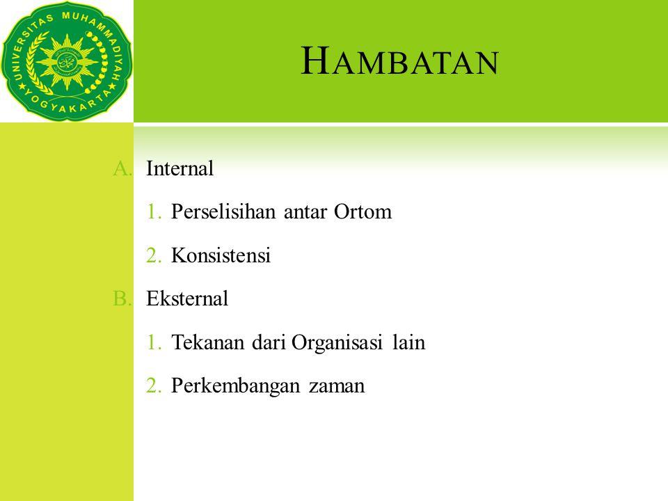 H AMBATAN A.Internal 1.Perselisihan antar Ortom 2.Konsistensi B.Eksternal 1.Tekanan dari Organisasi lain 2.Perkembangan zaman