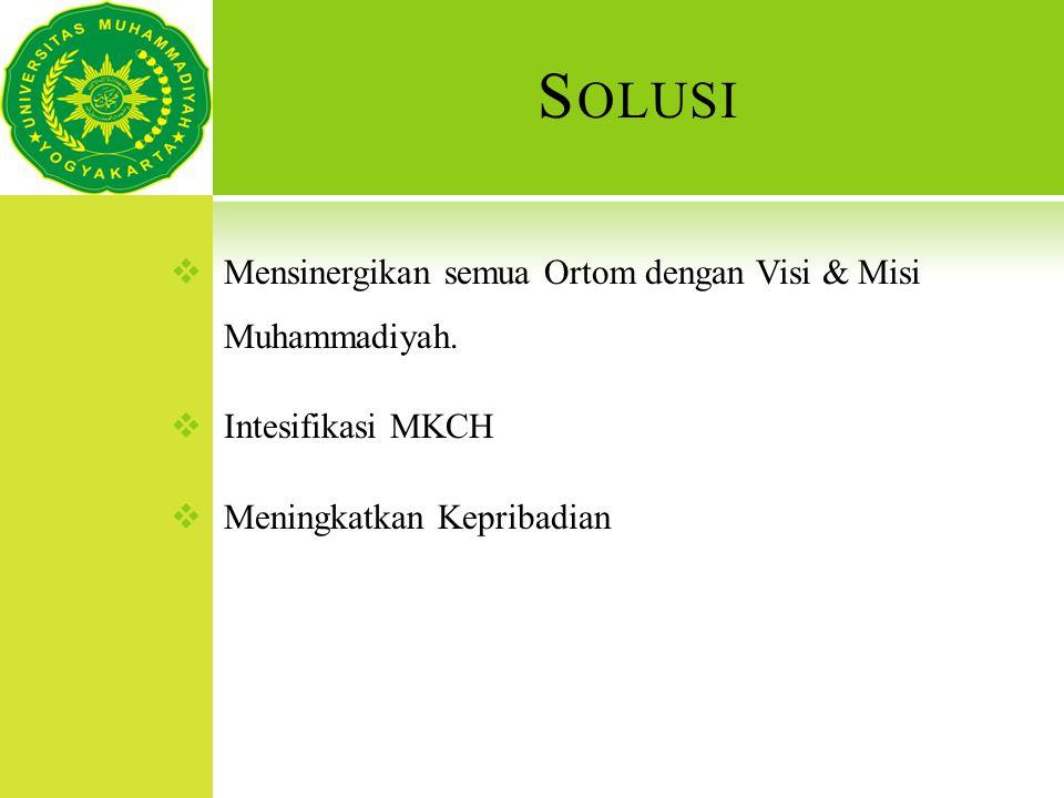S OLUSI  Mensinergikan semua Ortom dengan Visi & Misi Muhammadiyah.  Intesifikasi MKCH  Meningkatkan Kepribadian