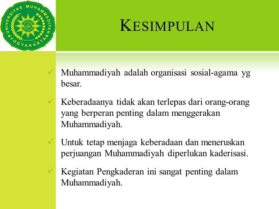 K ESIMPULAN Muhammadiyah adalah organisasi sosial-agama yg besar. Keberadaanya tidak akan terlepas dari orang-orang yang berperan penting dalam mengge
