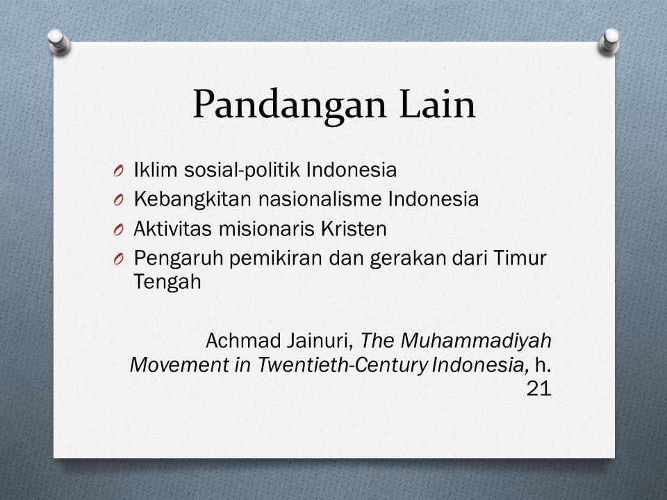 Pandangan Lain O Iklim sosial-politik Indonesia O Kebangkitan nasionalisme Indonesia O Aktivitas misionaris Kristen O Pengaruh pemikiran dan gerakan d