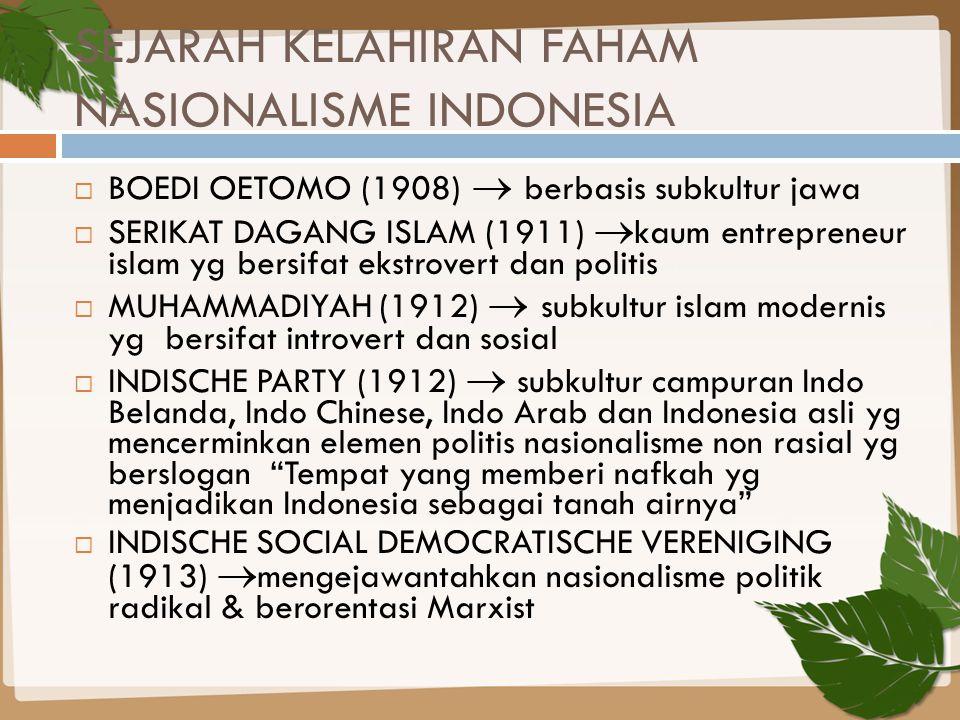 SEJARAH KELAHIRAN FAHAM NASIONALISME INDONESIA  BOEDI OETOMO (1908)  berbasis subkultur jawa  SERIKAT DAGANG ISLAM (1911)  kaum entrepreneur islam