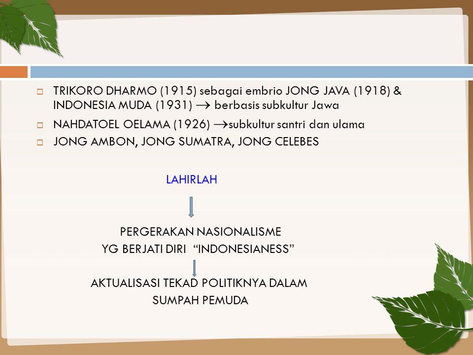  TRIKORO DHARMO (1915) sebagai embrio JONG JAVA (1918) & INDONESIA MUDA (1931)  berbasis subkultur Jawa  NAHDATOEL OELAMA (1926)  subkultur santri