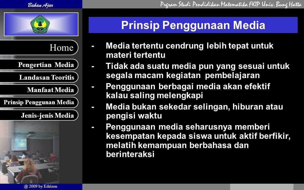Prgram Studi Pendidikan Matematika FKIP Univ. Bung Hatta Landasan Teoritis Manfaat Media Prinsip Penggunan Media Pengertian Media Bahan Ajar @ 2009 by