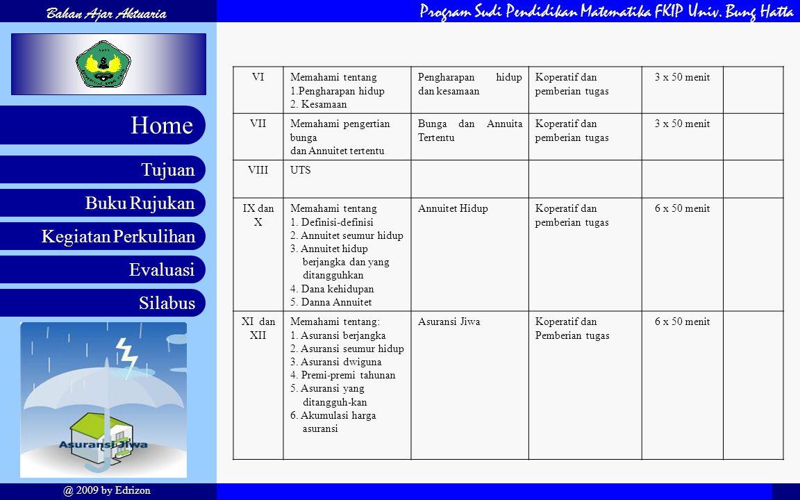 Program Sudi Pendidikan Matematika FKIP Univ. Bung Hatta Buku Rujukan Kegiatan Perkulihan Evaluasi Silabus Tujuan Home Bahan Ajar Aktuaria @ 2009 by E