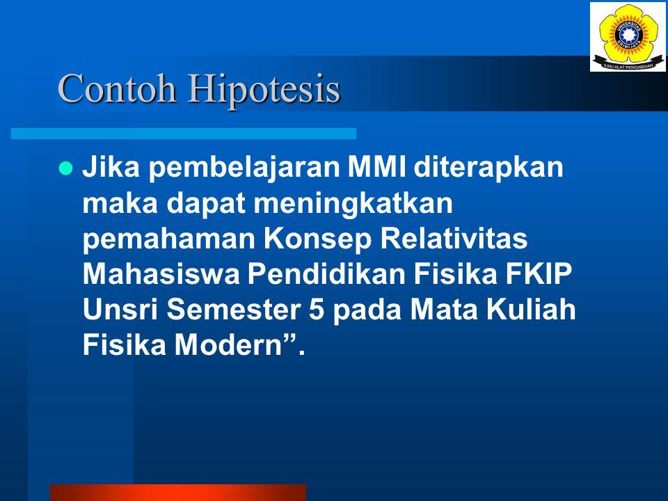 Hipotesis tindakan Dirumuskan dalam hipotesis tindakan, dijelaskan secara operasional Dirumuskan dalam bentuk pernyataan hipotesis, diantaranya dapat
