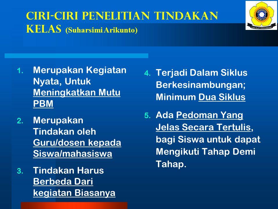 CIRI-CIRI PENELITIAN TINDAKAN KELAS (Suharsimi Arikunto) 1.