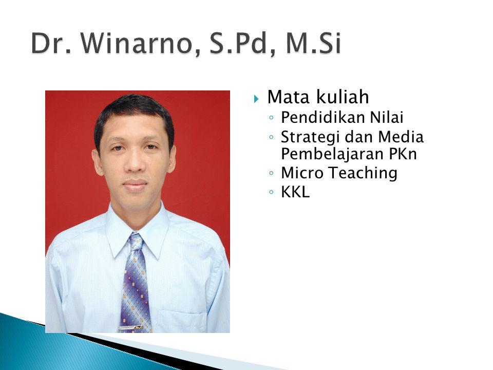  Mata kuliah ◦ Pendidikan Nilai ◦ Strategi dan Media Pembelajaran PKn ◦ Micro Teaching ◦ KKL