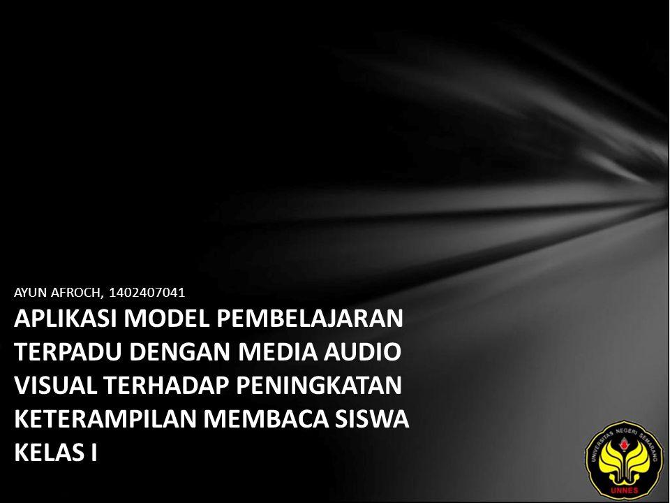 Identitas Mahasiswa - NAMA : AYUN AFROCH - NIM : 1402407041 - PRODI : Pendidikan Guru Sekolah Dasar - JURUSAN : Pendidikan Sekolah Dasar - FAKULTAS : Ilmu Pendidikan - EMAIL : ayun_afroch pada domain yahoo.co.id - PEMBIMBING 1 : Drs Umar Samadhy, M.Pd - PEMBIMBING 2 : Drs Sukarir Nuryanto, M.Pd - TGL UJIAN : 2011-07-14