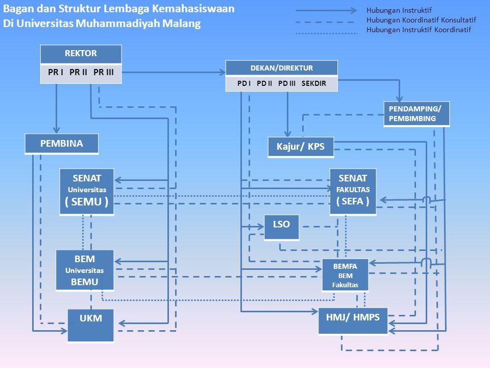 Bagan dan Struktur Lembaga Kemahasiswaan Di Universitas Muhammadiyah Malang PENDAMPING/ PEMBIMBING SENAT Universitas ( SEMU ) BEM Universitas BEMU UKM