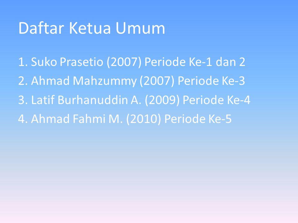 Daftar Ketua Umum 1. Suko Prasetio (2007) Periode Ke-1 dan 2 2. Ahmad Mahzummy (2007) Periode Ke-3 3. Latif Burhanuddin A. (2009) Periode Ke-4 4. Ahma