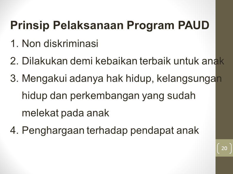 Prinsip Pelaksanaan Program PAUD 1.Non diskriminasi 2.Dilakukan demi kebaikan terbaik untuk anak 3.Mengakui adanya hak hidup, kelangsungan hidup dan p