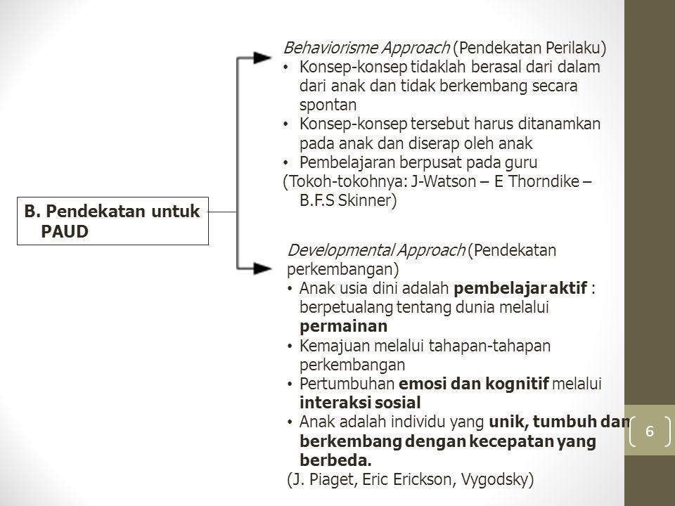 B. Pendekatan untuk PAUD Behaviorisme Approach (Pendekatan Perilaku) Konsep-konsep tidaklah berasal dari dalam dari anak dan tidak berkembang secara s