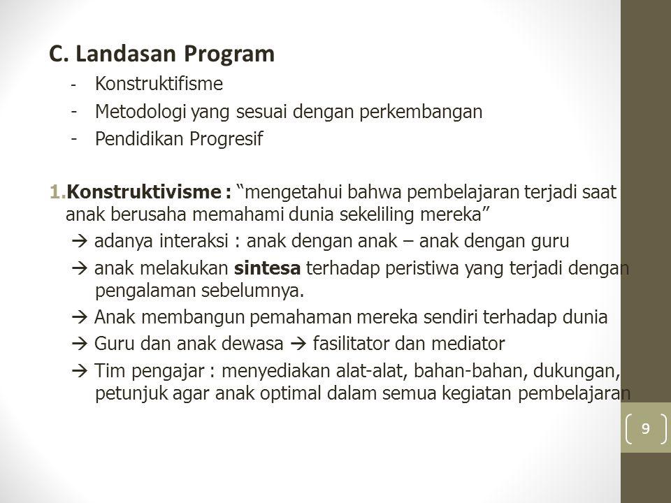 Prinsip Pelaksanaan Program PAUD 1.Non diskriminasi 2.Dilakukan demi kebaikan terbaik untuk anak 3.Mengakui adanya hak hidup, kelangsungan hidup dan perkembangan yang sudah melekat pada anak 4.Penghargaan terhadap pendapat anak 20