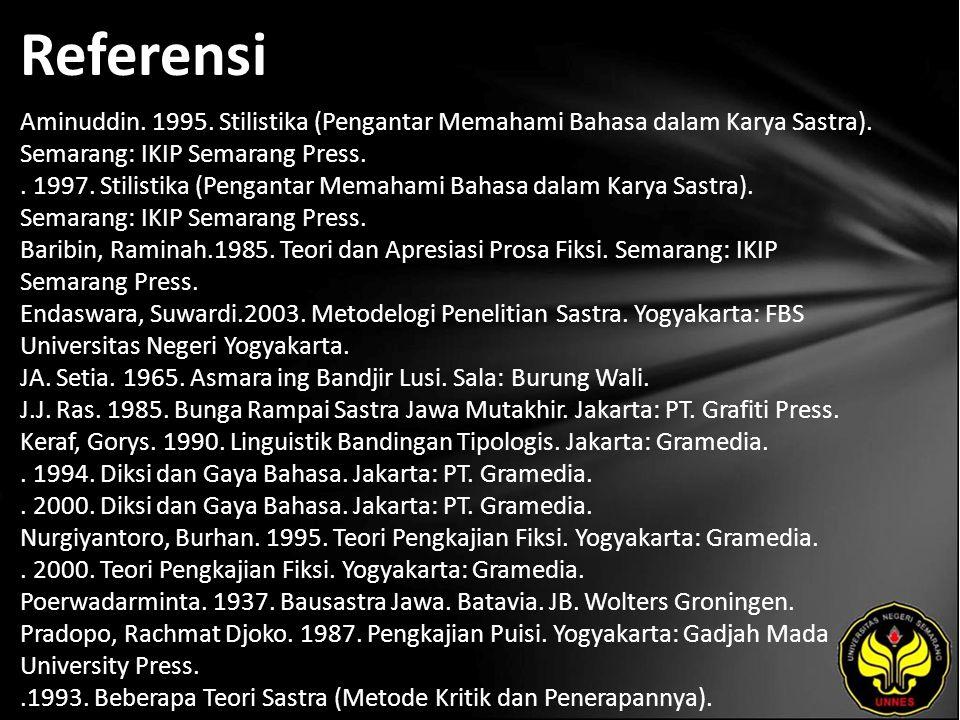 Referensi Aminuddin. 1995. Stilistika (Pengantar Memahami Bahasa dalam Karya Sastra).