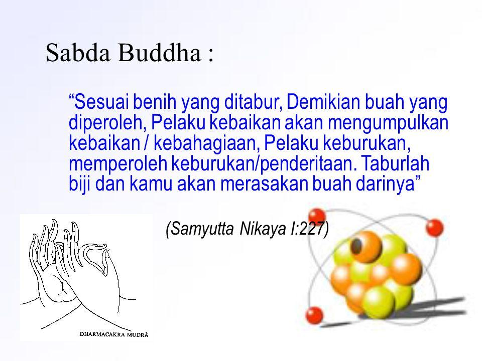 """Sabda Buddha : """"Sesuai benih yang ditabur, Demikian buah yang diperoleh, Pelaku kebaikan akan mengumpulkan kebaikan / kebahagiaan, Pelaku keburukan, m"""