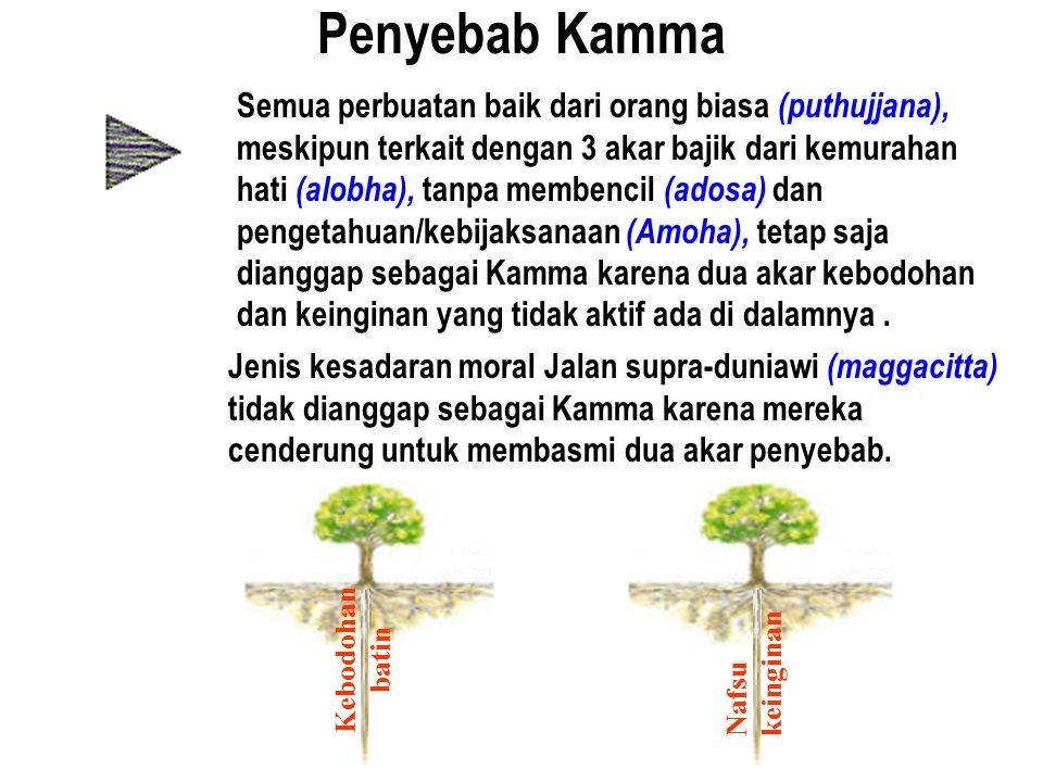 Penyebab Kamma Semua perbuatan baik dari orang biasa (puthujjana), meskipun terkait dengan 3 akar bajik dari kemurahan hati (alobha), tanpa membencil