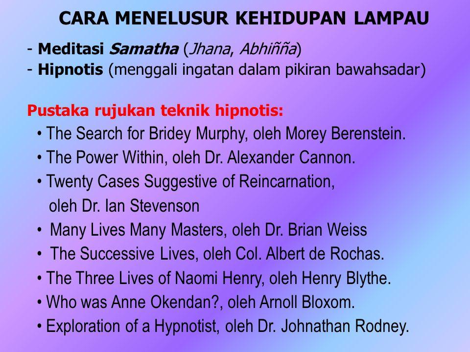 CARA MENELUSUR KEHIDUPAN LAMPAU - Meditasi Samatha (Jhana, Abhiñña) - Hipnotis (menggali ingatan dalam pikiran bawahsadar) Pustaka rujukan teknik hipn