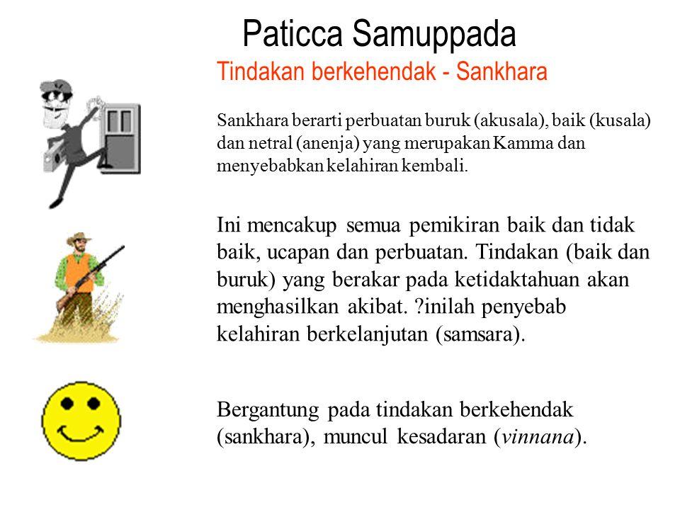 Paticca Samuppada Sankhara berarti perbuatan buruk (akusala), baik (kusala) dan netral (anenja) yang merupakan Kamma dan menyebabkan kelahiran kembali
