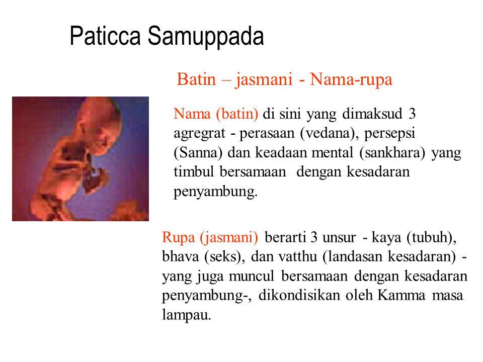 Paticca Samuppada Batin – jasmani - Nama-rupa Nama (batin) di sini yang dimaksud 3 agregrat - perasaan (vedana), persepsi (Sanna) dan keadaan mental (