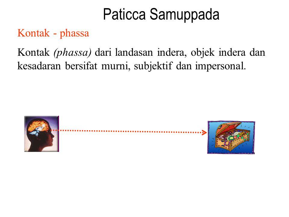Paticca Samuppada Kontak - phassa Kontak (phassa) dari landasan indera, objek indera dan kesadaran bersifat murni, subjektif dan impersonal.