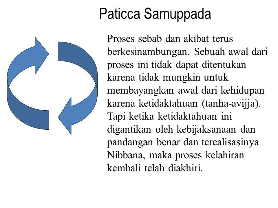 Paticca Samuppada Proses sebab dan akibat terus berkesinambungan. Sebuah awal dari proses ini tidak dapat ditentukan karena tidak mungkin untuk membay