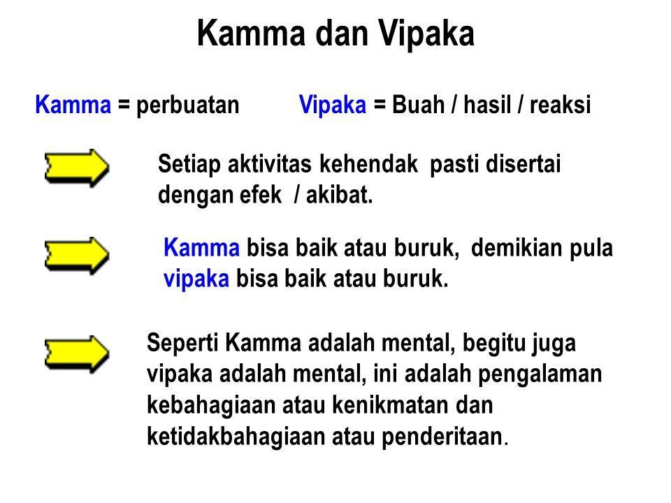 Kamma = perbuatan Vipaka = Buah / hasil / reaksi Setiap aktivitas kehendak pasti disertai dengan efek / akibat. Kamma bisa baik atau buruk, demikian p