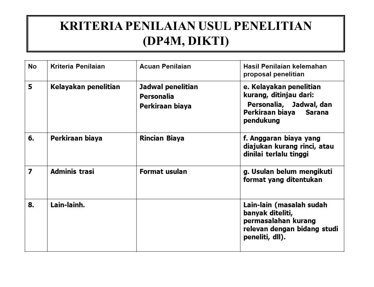 KRITERIA PENILAIAN USUL PENELITIAN (DP4M, DIKTI) NoKriteria PenilaianAcuan PenilaianHasil Penilaian kelemahan proposal penelitian 5Kelayakan penelitia