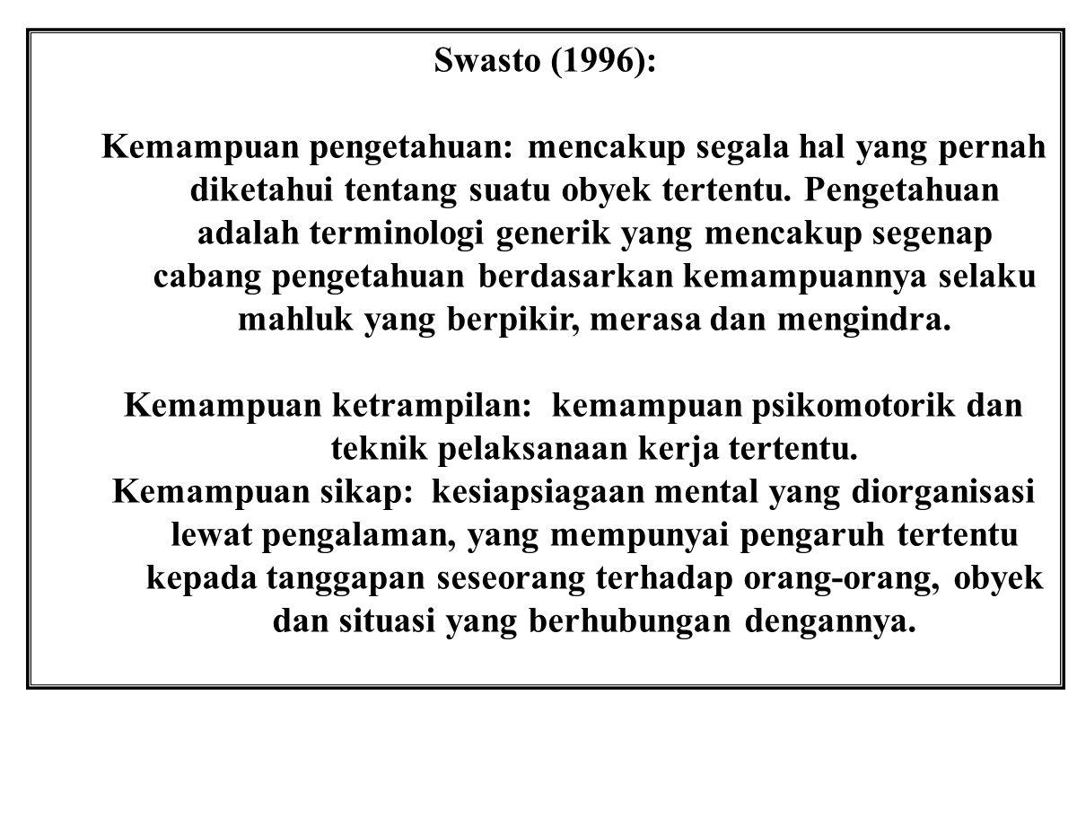 Swasto (1996): Kemampuan pengetahuan: mencakup segala hal yang pernah diketahui tentang suatu obyek tertentu. Pengetahuan adalah terminologi generik y