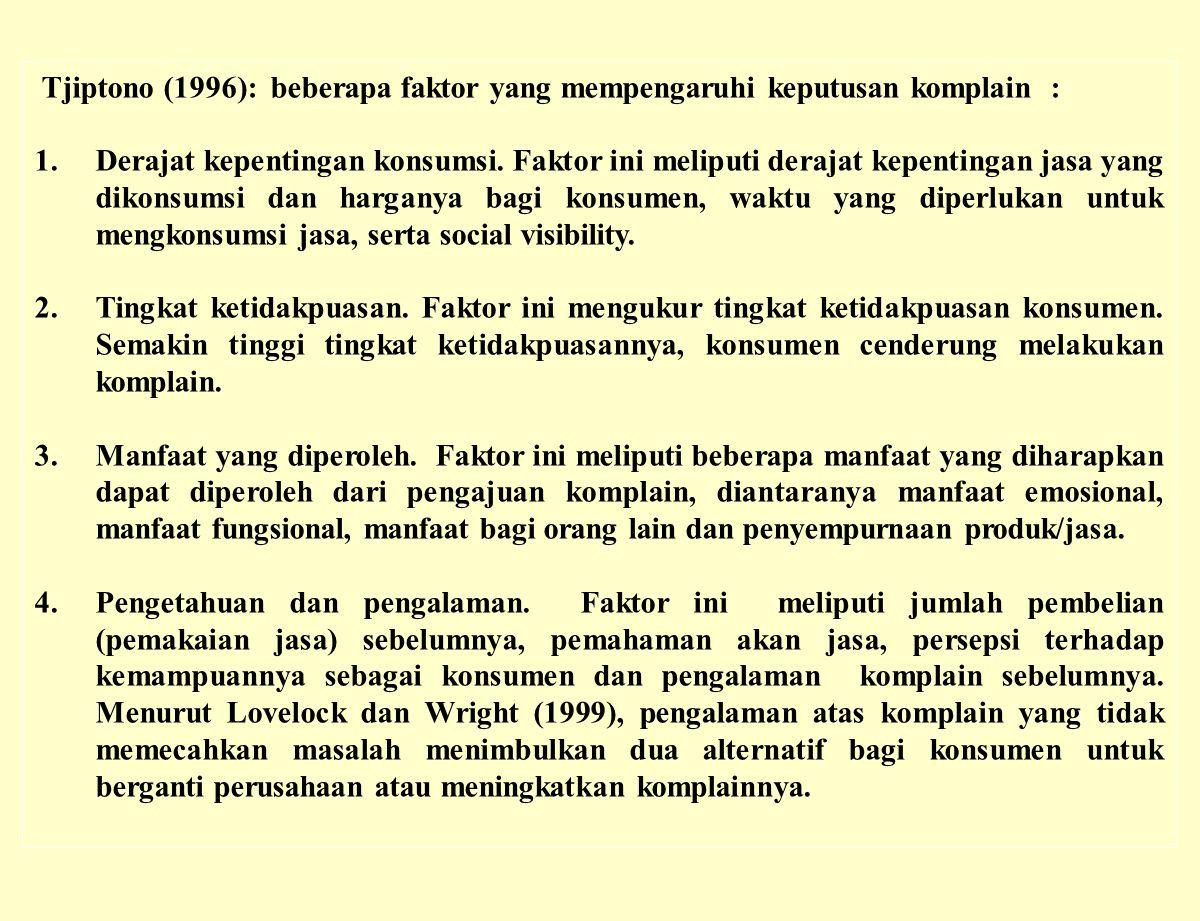 Tjiptono (1996): beberapa faktor yang mempengaruhi keputusan komplain : 1.Derajat kepentingan konsumsi. Faktor ini meliputi derajat kepentingan jasa y