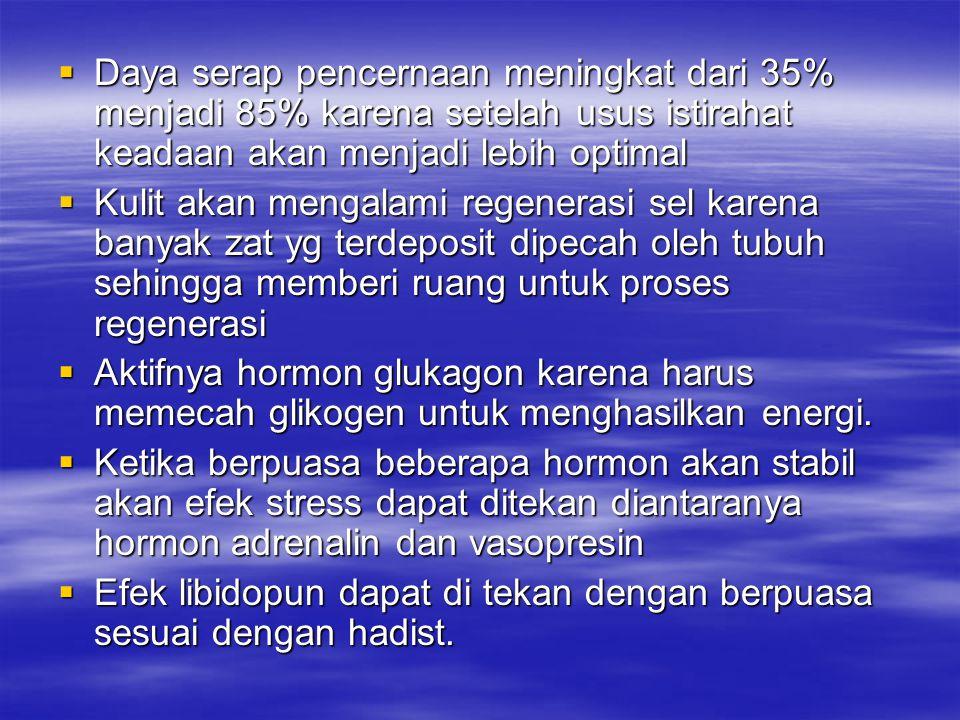  Daya serap pencernaan meningkat dari 35% menjadi 85% karena setelah usus istirahat keadaan akan menjadi lebih optimal  Kulit akan mengalami regener
