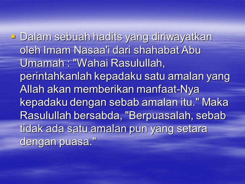  Dalam sebuah hadits yang diriwayatkan oleh Imam Nasaa'i dari shahabat Abu Umamah :