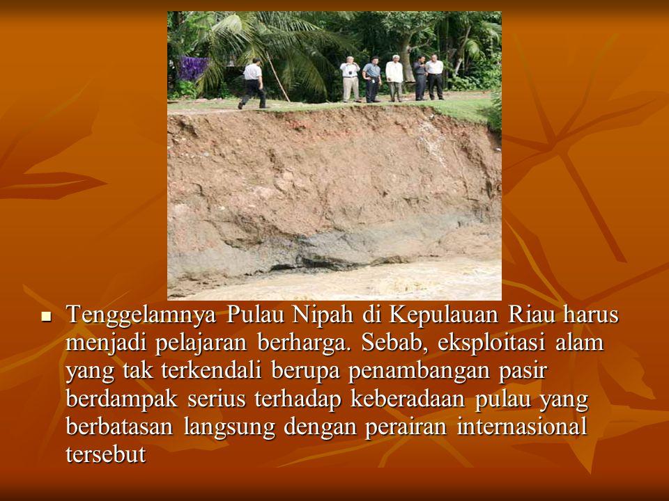 Tenggelamnya Pulau Nipah di Kepulauan Riau harus menjadi pelajaran berharga. Sebab, eksploitasi alam yang tak terkendali berupa penambangan pasir berd