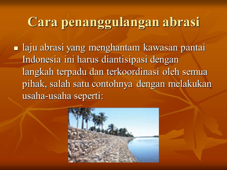 Penanaman, pelestarian dan merestorasi kawasan hutan mangrove disepanjang kawasan pesisir Penanaman, pelestarian dan merestorasi kawasan hutan mangrove disepanjang kawasan pesisir Tidak melakukan eksploitasi pasir laut secara serampangan Tidak melakukan eksploitasi pasir laut secara serampangan Membuat tambak-tambak untuk usaha perikanan secara bijak dan berwawasan lingkungan Membuat tambak-tambak untuk usaha perikanan secara bijak dan berwawasan lingkungan Tidak membuang limbah-limbah yang dapat merusak struktur tanah dan vegetasi alam ke sepanjang Daerah Aliran Sugai (DAS) dan wilayah pesisir pantai Tidak membuang limbah-limbah yang dapat merusak struktur tanah dan vegetasi alam ke sepanjang Daerah Aliran Sugai (DAS) dan wilayah pesisir pantai Reklamasi DAS dan wilayah pesisir lainnya yang sekiranya memungkinkan untuk terancam abrasi Reklamasi DAS dan wilayah pesisir lainnya yang sekiranya memungkinkan untuk terancam abrasi Membuat shoreline protection disepanjang wilayah pesisir untuk menanggulangi ancaman abrasi Membuat shoreline protection disepanjang wilayah pesisir untuk menanggulangi ancaman abrasi Menyiapkan regulasi penanganan abrasi yang konsisten dan berkesinambungan, dari berbagai elemen terkait termasuk masyarakat Menyiapkan regulasi penanganan abrasi yang konsisten dan berkesinambungan, dari berbagai elemen terkait termasuk masyarakat Dan lain-lain Dan lain-lain