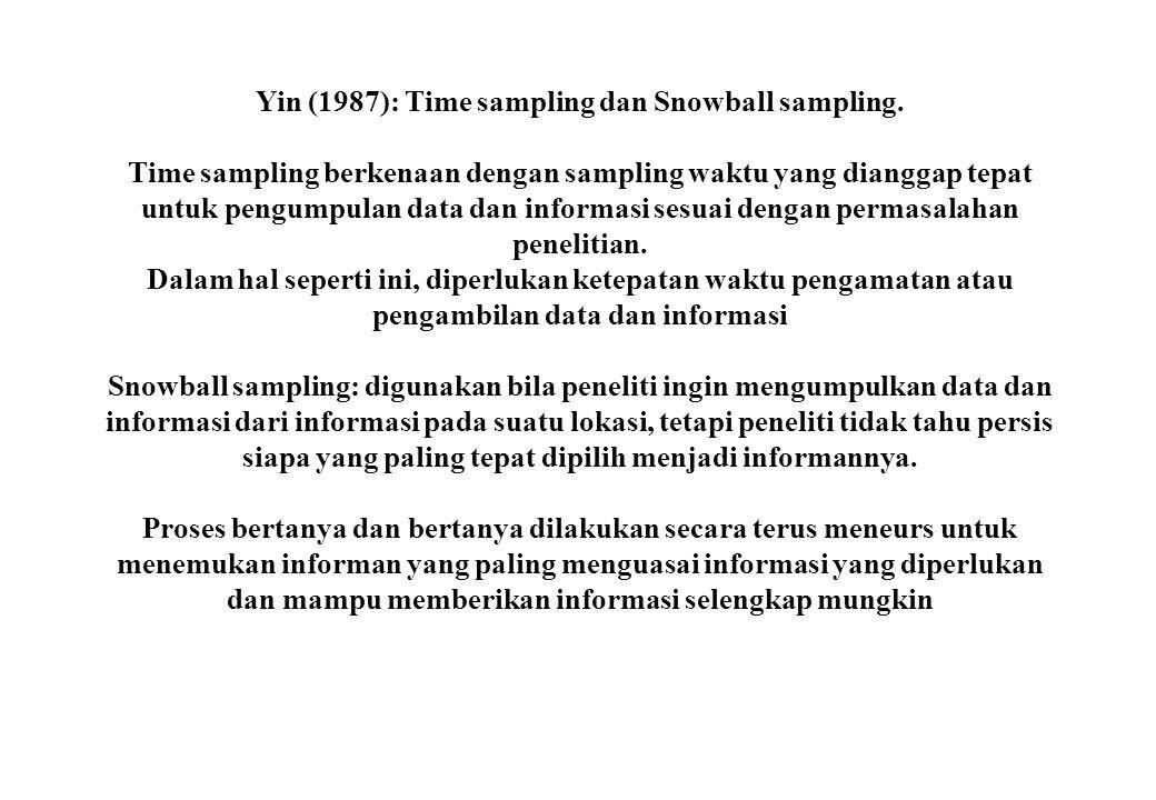 Yin (1987): Time sampling dan Snowball sampling. Time sampling berkenaan dengan sampling waktu yang dianggap tepat untuk pengumpulan data dan informas