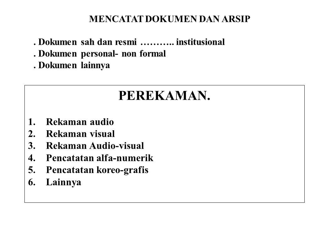 MENCATAT DOKUMEN DAN ARSIP. Dokumen sah dan resmi ……….. institusional. Dokumen personal- non formal. Dokumen lainnya PEREKAMAN. 1.Rekaman audio 2.Reka