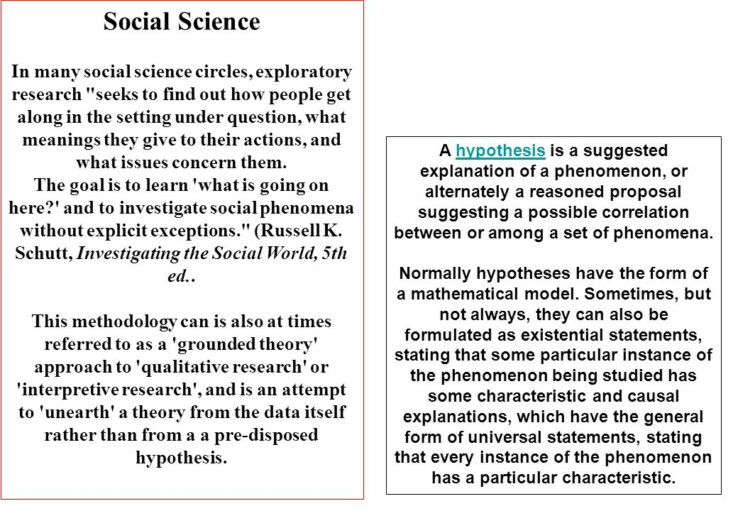Social Science In many social science circles, exploratory research