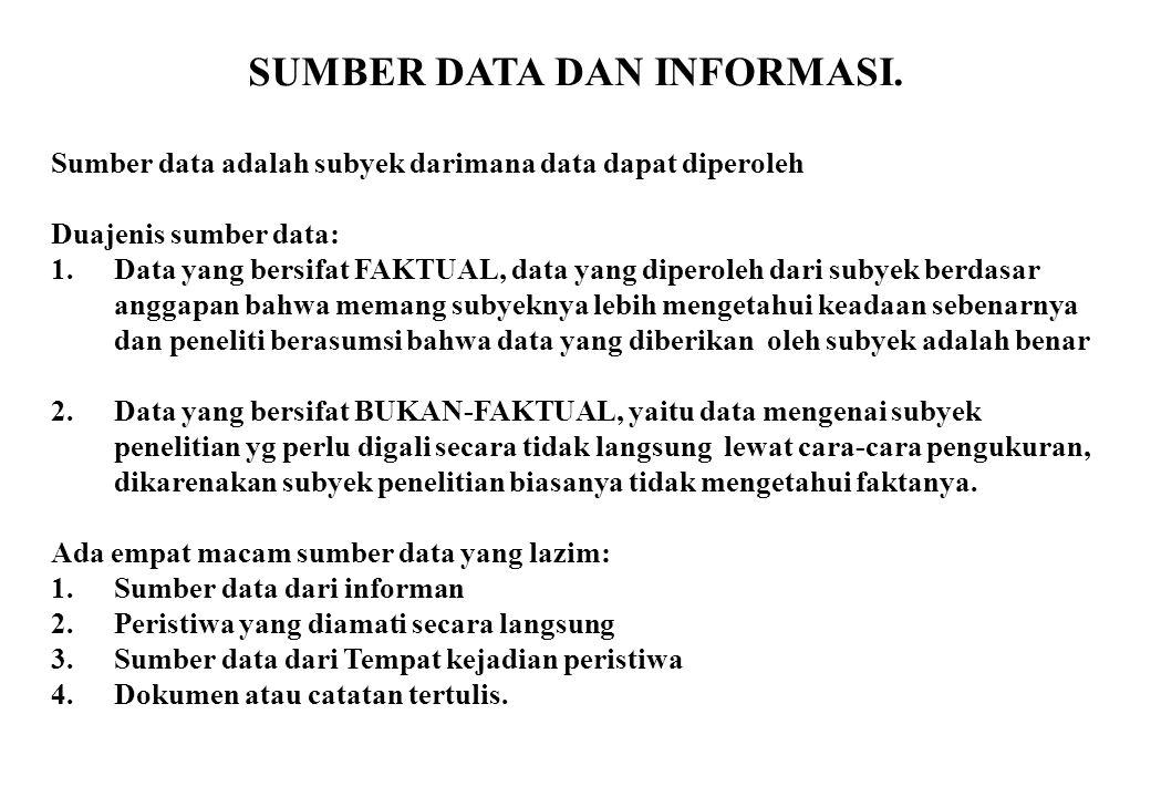 SUMBER DATA DAN INFORMASI. Sumber data adalah subyek darimana data dapat diperoleh Duajenis sumber data: 1.Data yang bersifat FAKTUAL, data yang diper