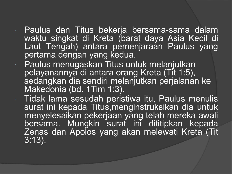  Dalam surat ini Paulus meyampaikan rencananya untuk mengirim Artemas atau Tikhikus dengan segera untuk menggantikan Titus, karena setelah itu Titus harus ikut serta dengan Paulus di Nikopolis (Yunani), tempat yang direncanakan menjadi tempat tinggal Paulus selama musim dingin (Tit 3:12).Kita mengetahui bahwa rencana ini terlaksana (bd.