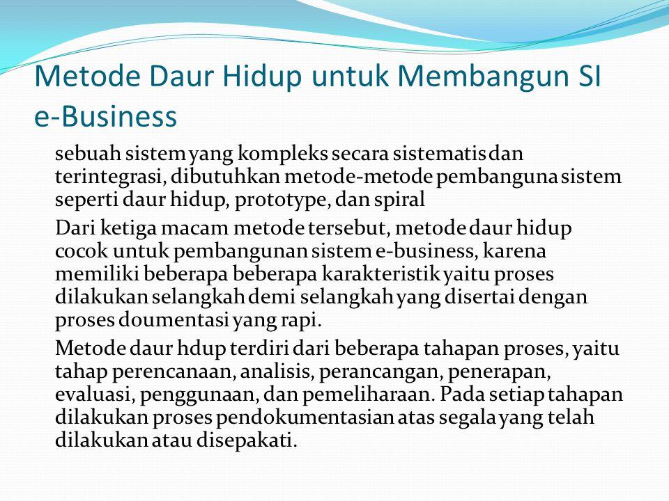 Tahap Perencanaan Proposal TI untuk prioritas-prioritas e-business Kasus Bisnis untuk e- Business/ Investasi TI Perencanaan aplikasi e-Business Pengembangan & Penyebaranya Proses Perencanaan Sistem e-Business Tahap ini sangat penting karena pada tahap ini permasalahan yang sebenarnya didefinisikan secara rinci