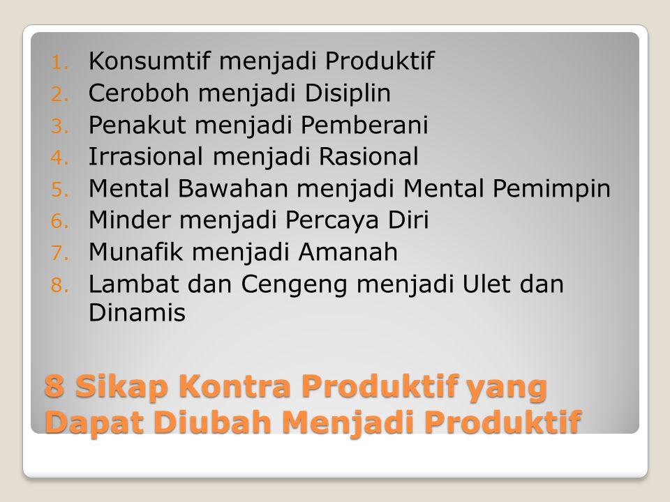 8 Sikap Kontra Produktif yang Dapat Diubah Menjadi Produktif 1. Konsumtif menjadi Produktif 2. Ceroboh menjadi Disiplin 3. Penakut menjadi Pemberani 4