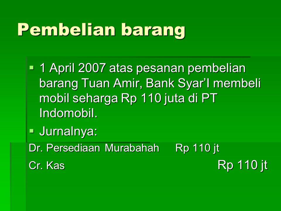 Pengeluaran biaya tambahan  10 April 2007 sebelum dijual ke nasabah, Bank Syar'I membayar BBN dan biaya uji coba dan perbaikan mobil sebesar Rp 5 juta.