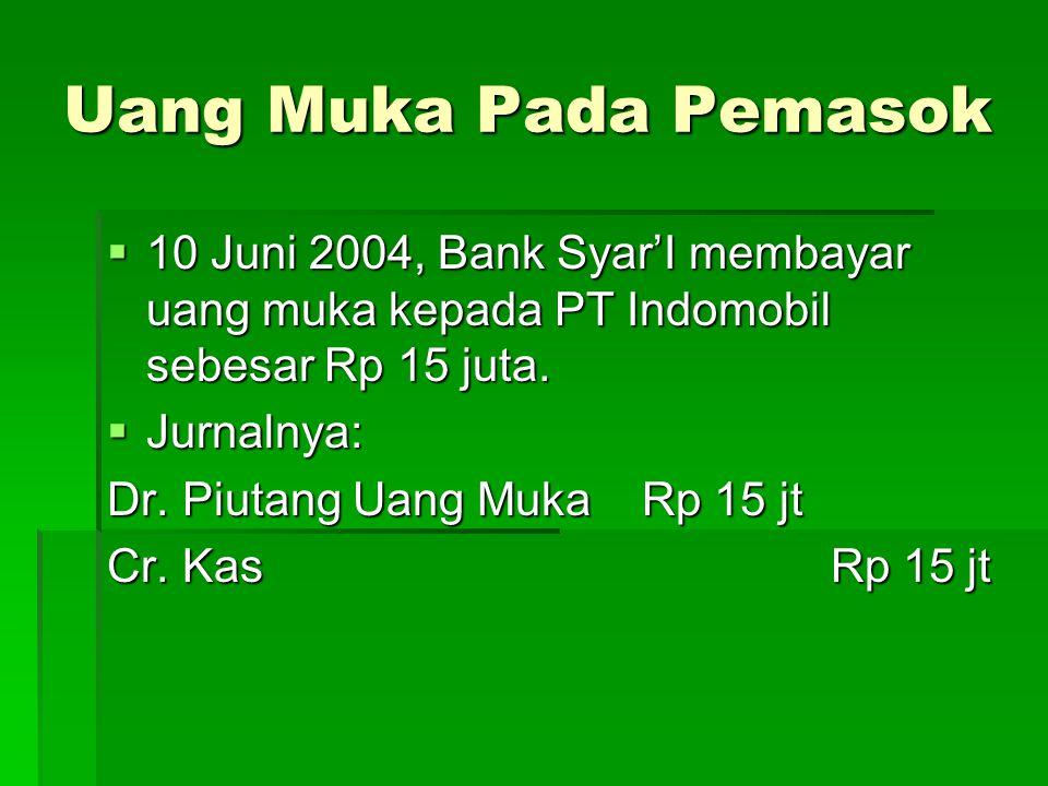 Uang Muka Pada Pemasok  10 Juni 2004, Bank Syar'I membayar uang muka kepada PT Indomobil sebesar Rp 15 juta.