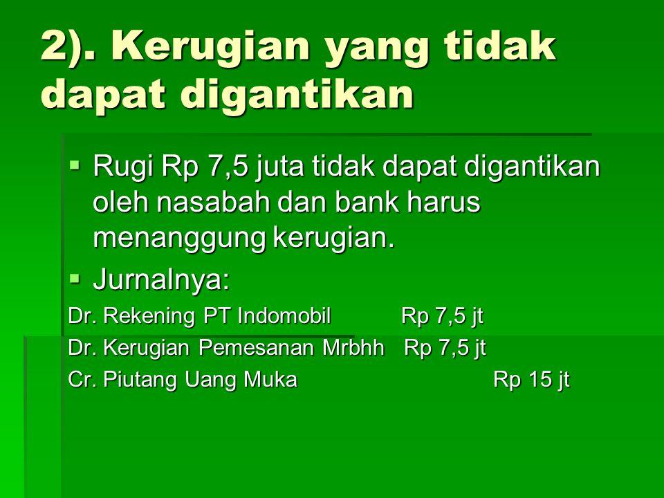  Rugi Rp 7,5 juta tidak dapat digantikan oleh nasabah dan bank harus menanggung kerugian.