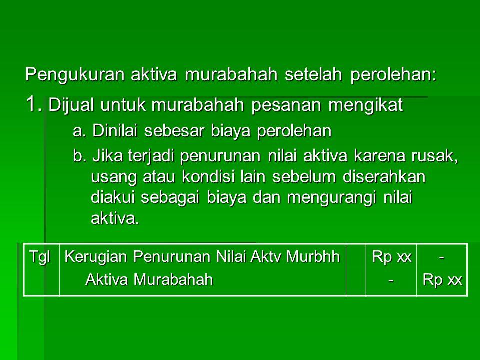 2.Apabila murabahah tanpa pesanan atau dengan pesanan tidak mengikat, maka aktiva murabahah: a.