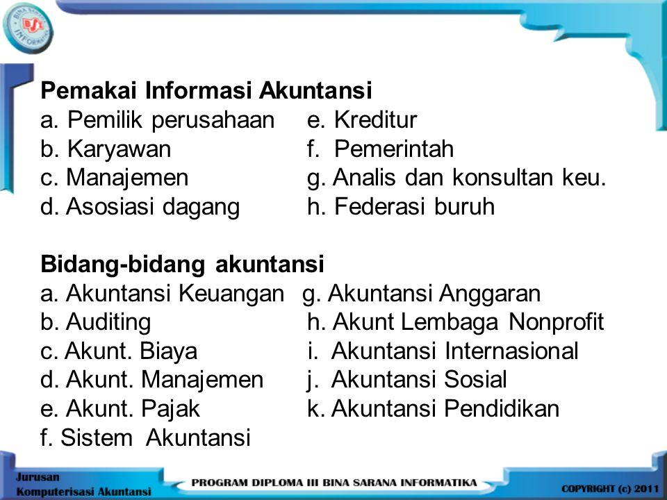PERTEMUAN KE-1 GAMBARAN UMUM AKUNTANSI Definisi Akuntansi (menurut A.A.A) Akuntansi adalah proses mengidentifikasikan, mengukur dan melaporkan informa
