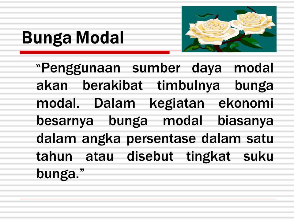 "Bunga Modal "" Penggunaan sumber daya modal akan berakibat timbulnya bunga modal. Dalam kegiatan ekonomi besarnya bunga modal biasanya dalam angka pers"