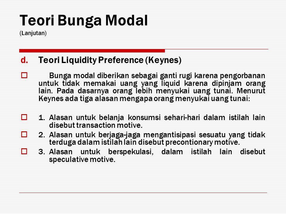 Teori Bunga Modal (Lanjutan) d.Teori Liquidity Preference (Keynes)  B unga modal diberikan sebagai ganti rugi karena pengorbanan untuk tidak memakai