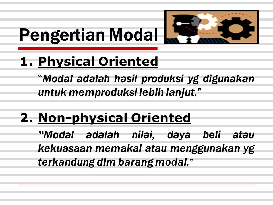 """Pengertian Modal 1.Physical Oriented """" Modal adalah hasil produksi yg digunakan untuk memproduksi lebih lanjut."""" 2.Non-physical Oriented """" Modal adala"""