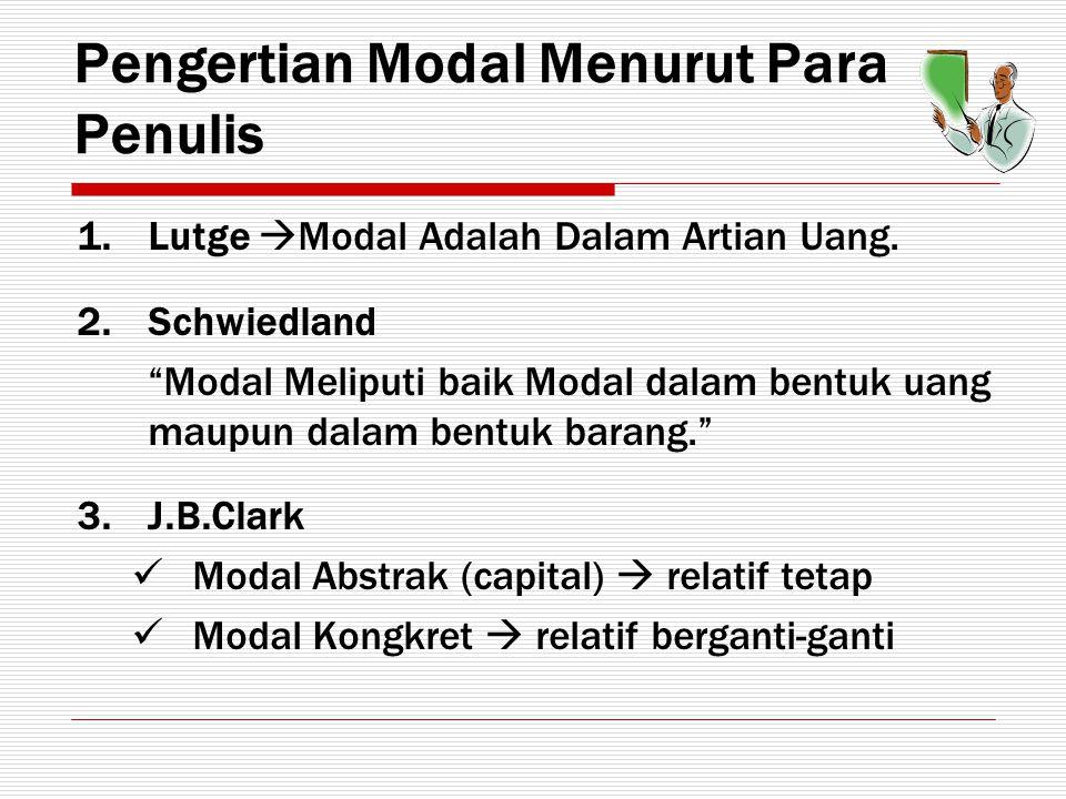 Pengertian Modal Menurut Para Penulis 4.Fisher Modal Abstrak (capital value)  relatif permanen Modal Kongkret (capital goods)  mengalami perubahan 5.Prof.