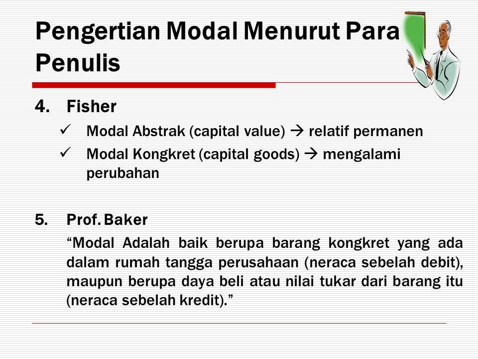 Pengertian Modal Menurut Para Penulis 4.Fisher Modal Abstrak (capital value)  relatif permanen Modal Kongkret (capital goods)  mengalami perubahan 5